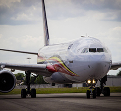 Illustration of: Brussels Airlines turns A330-300 to Red Devils colours with BCO