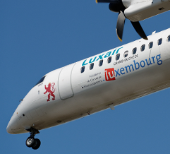 Illustration of: Luxair branded Bombardier Q400 fleet in Luxembourg Presidency livery with BCO Aviation