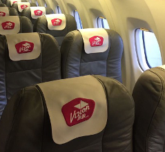 Illustration of: Sewed leatherette headrest covers (antimacassars) for Vizion Air