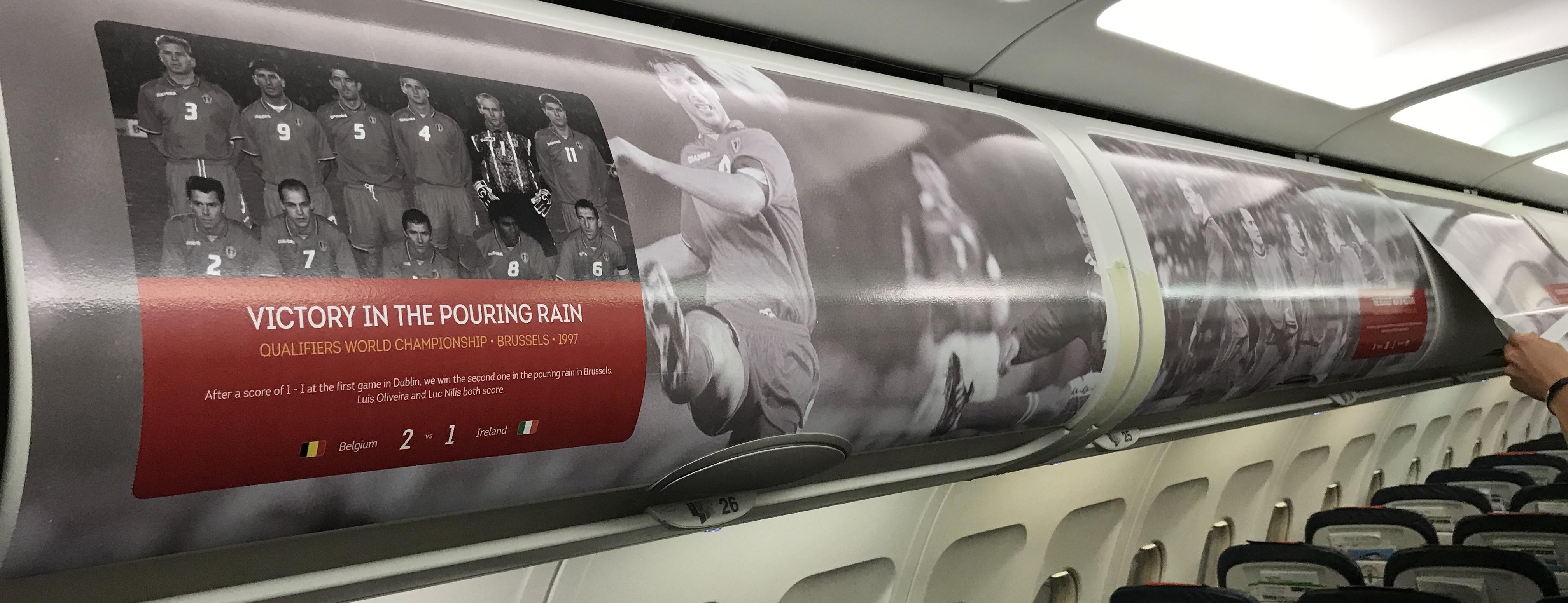 Illustration for: Belgian Red Devils overhead bins for Brussels Airlines
