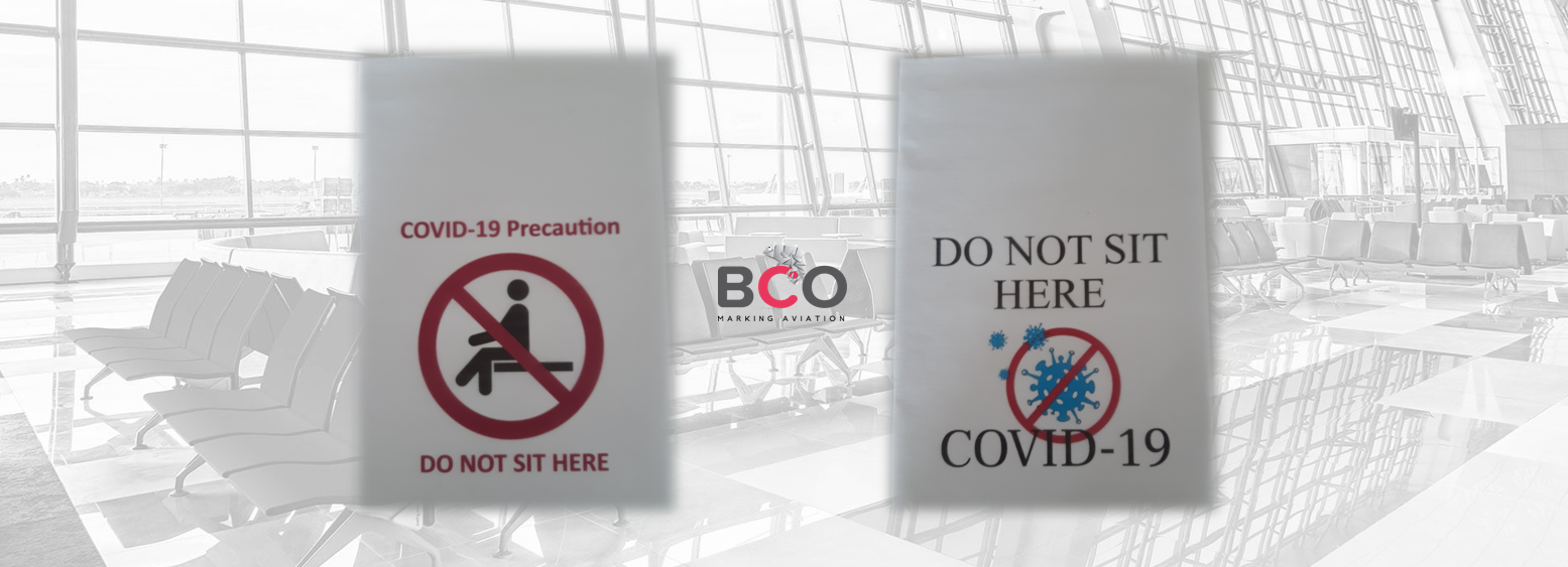 Illustration for: Airport headrest covers for safety distance (COVID-19 precaution)