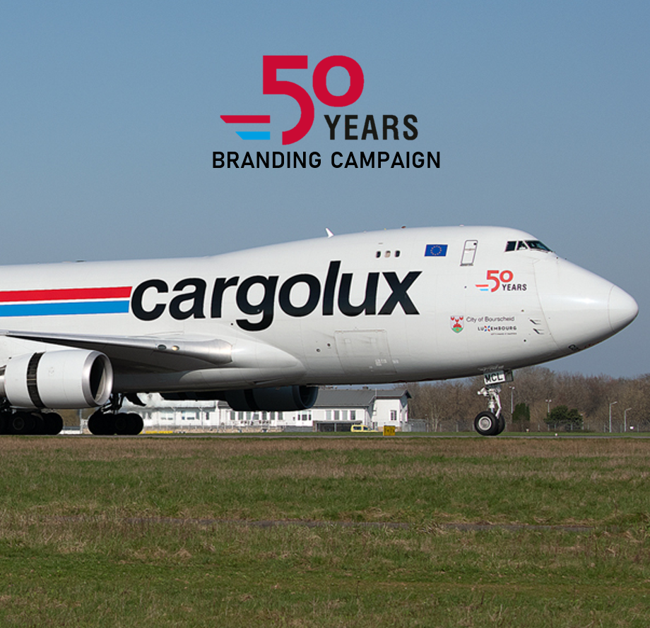"Illustration of: Cargolux ""50 years"" branding campaign"
