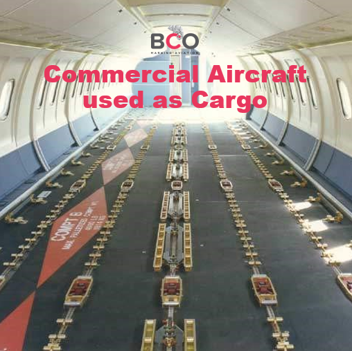 Illustration of: Commercial aircraft transformed as Cargo during Covid-19 outbreak