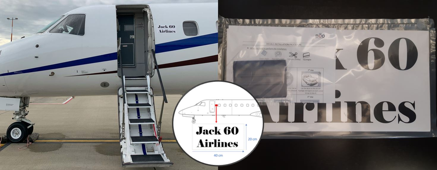"""Illustration for: """"Quick Stick"""" decals for easy and temporary decorative aircraft branding"""