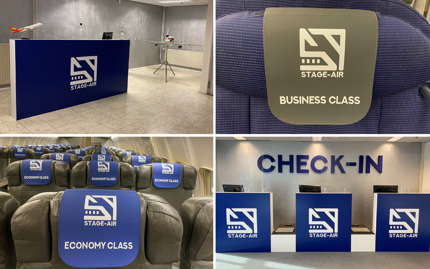 Check-in desk and cabin from Stage virtual Air Airlines