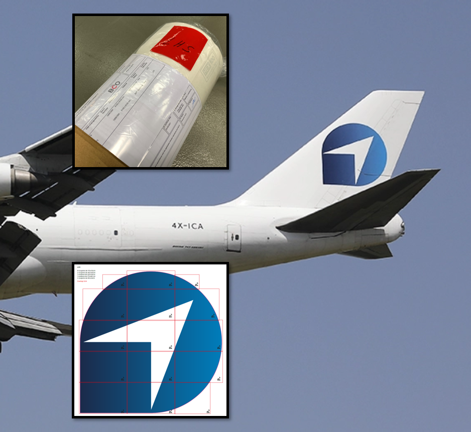Illustration of: B747-400 freighter vertical fin decals for Challenge Group