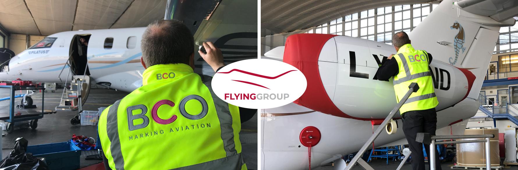 Illustration for: Business Jet registration decals for Flying Group (Pilatus PC-24)