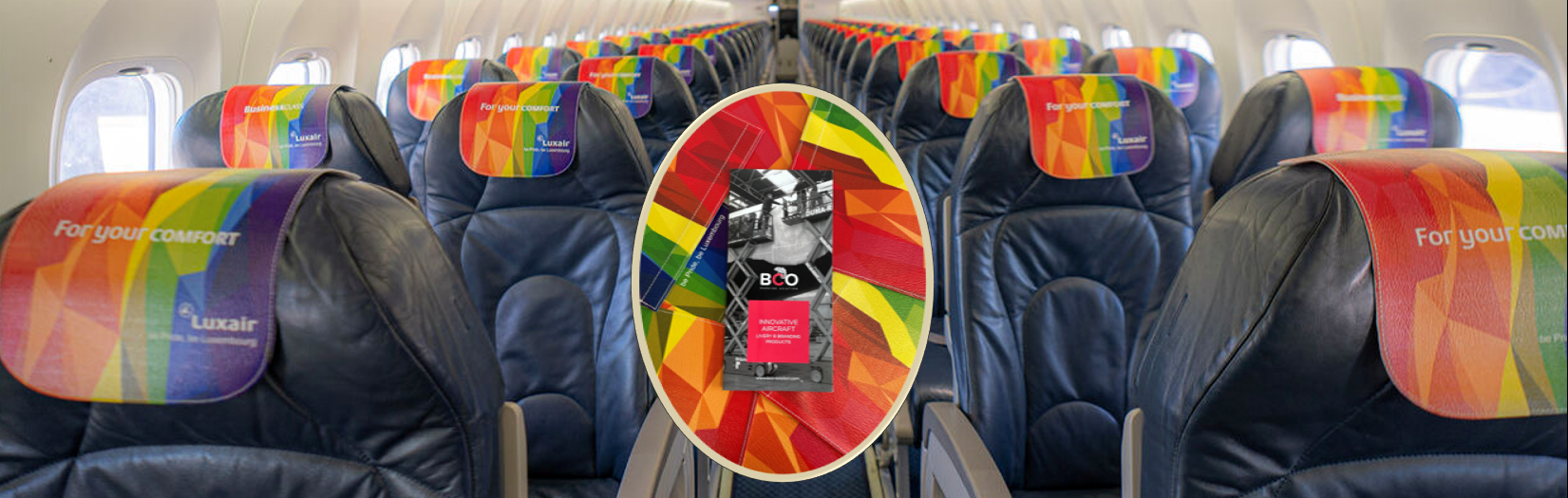 Illustration for: Match your cabin Headrest covers with your aircraft external Livery (Be Pride, Be Luxembourg)