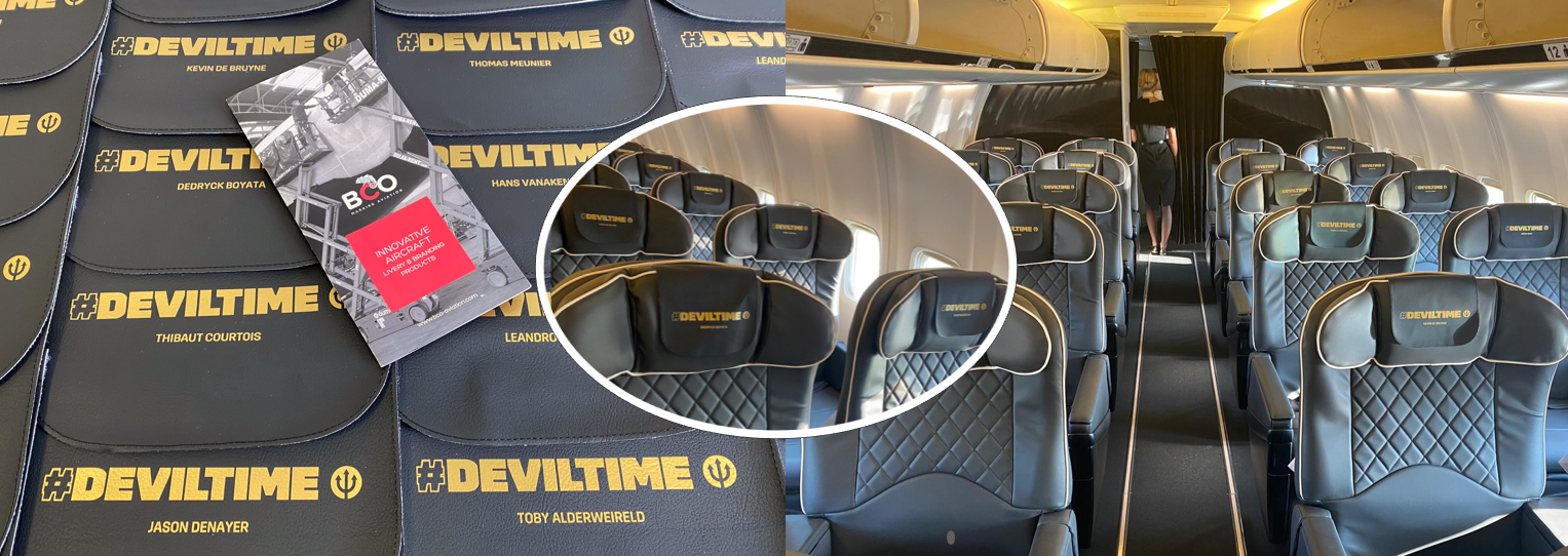Illustration for: Belgian Red Devils flew with BCO Aviation headrest covers during Euro 2020