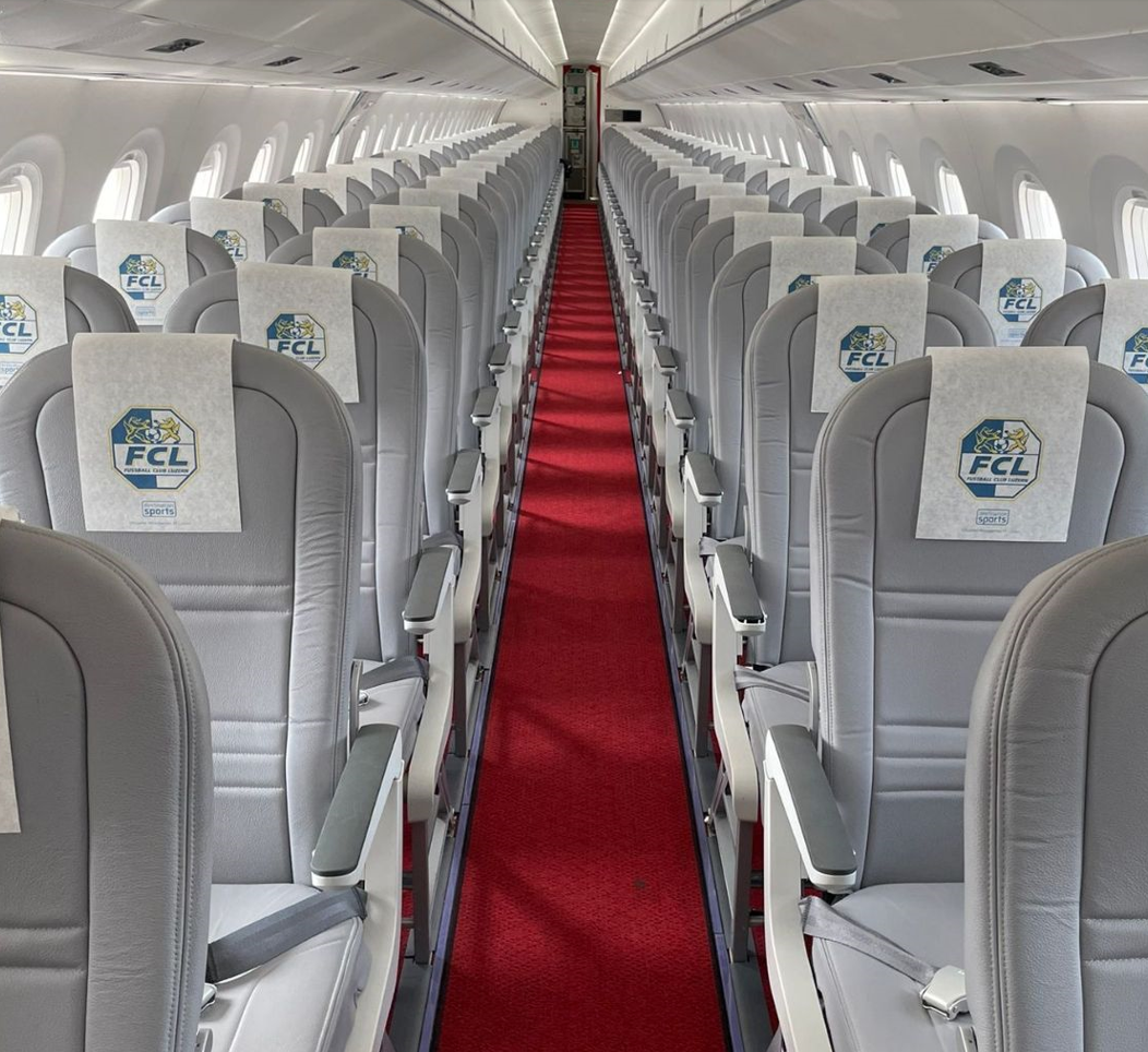 Illustration of: Personalize sport team charter flights with printed goodies